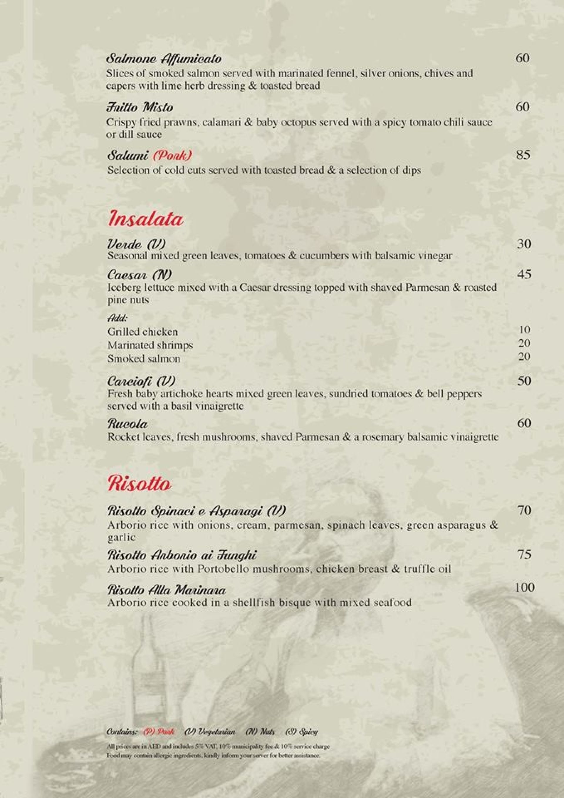 Menu of the Don Corleone