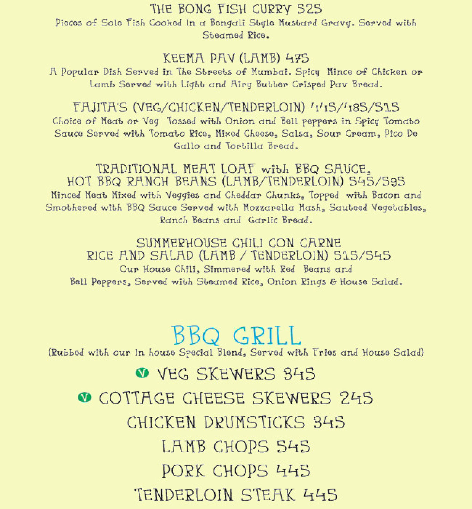Menu of the Summer House Cafe