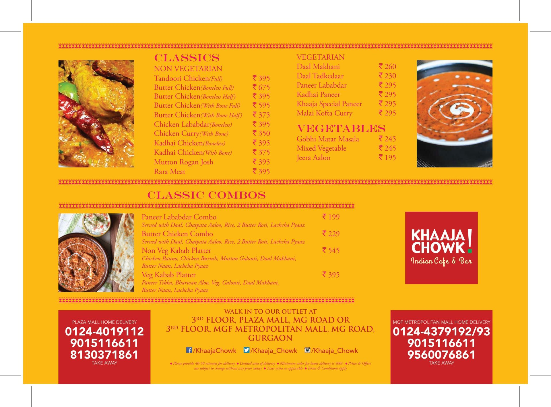Menu of the Khaaja Chowk