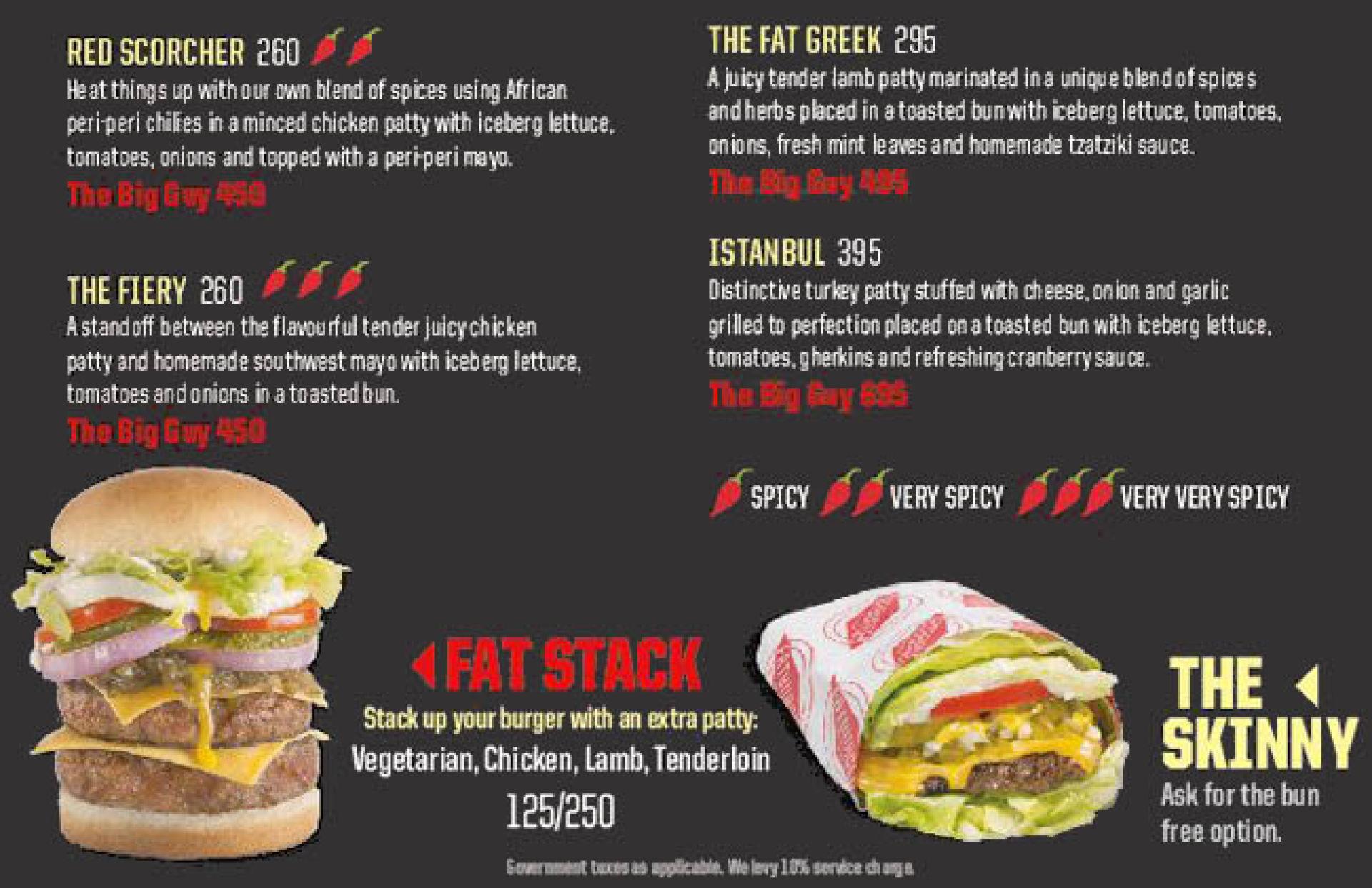 Menu of the Fatburger