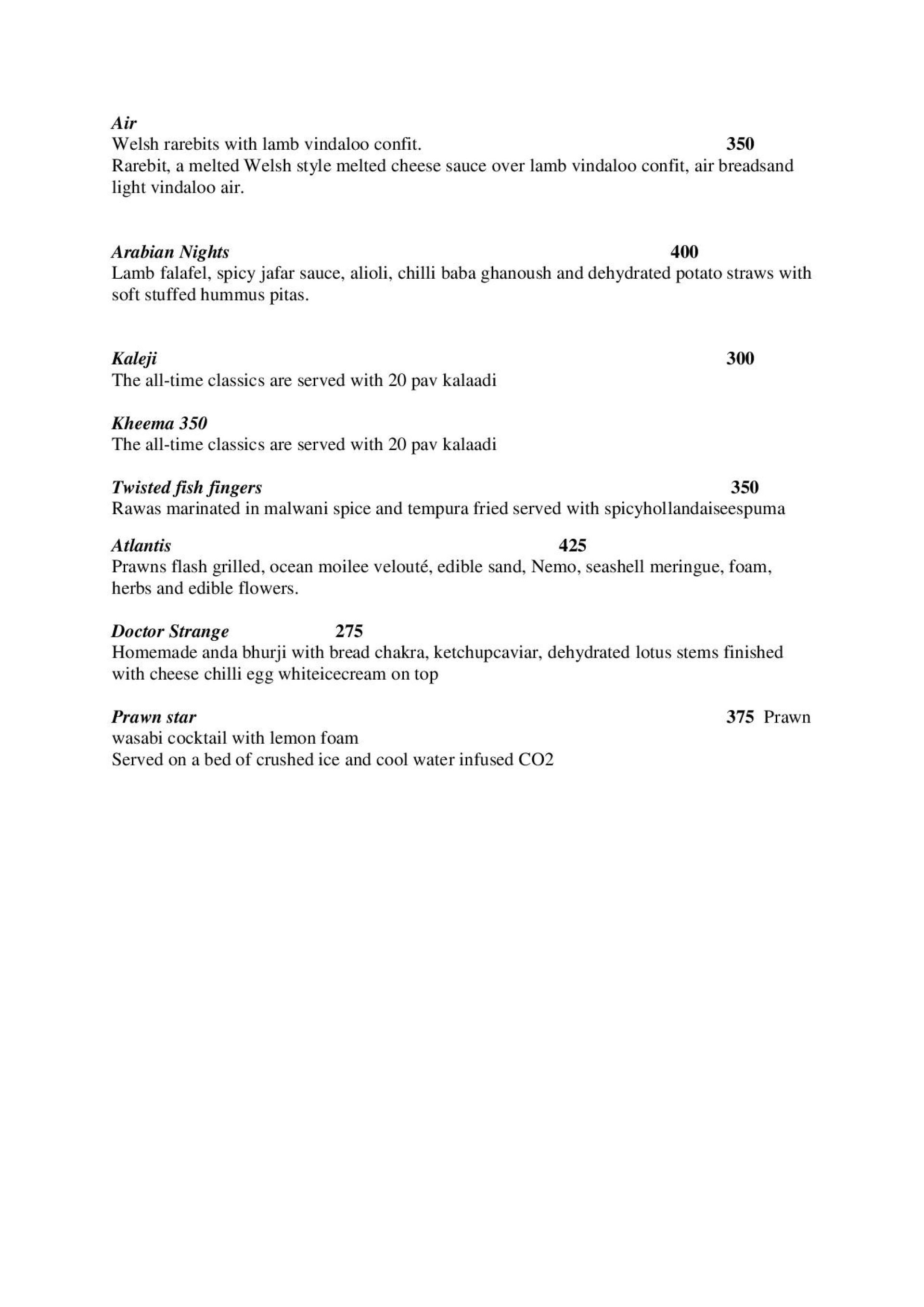 Menu of chemistry 101 gastro bar lower parel south for Fish 101 menu
