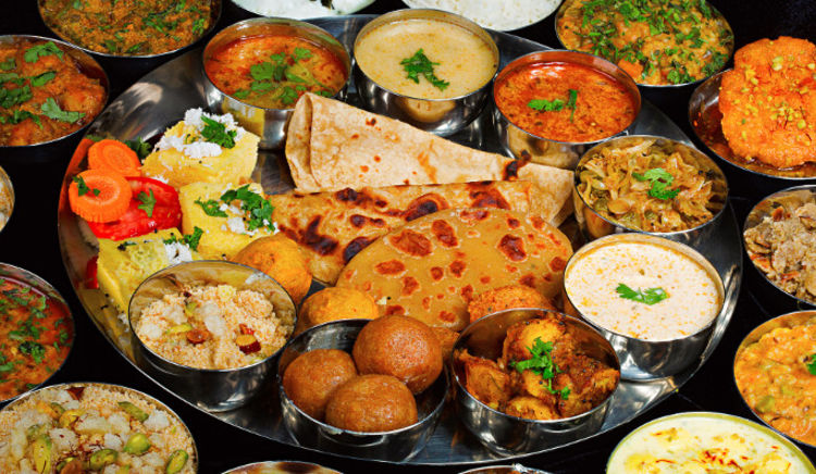 Gorge on an array of Indian delicacies in one single platter