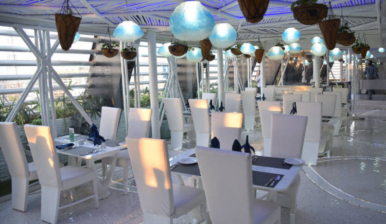 Relax on the rooftop with a great view and food